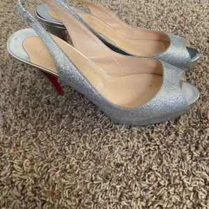Christian Louboutin Shoes - Authentic Christian louboutin sliver glitter shoe